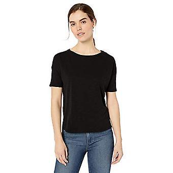 Brand - Daily Ritual Women's Lightweight Lived-In Cotton Short-Sleeve Drop-Shoulder T-Shirt, Black, Medium