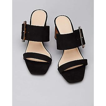 Brand - find. Women's Large Buckle Block Heel Sandal Black), US 9