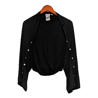 LOGO van Lori Goldstein Women's Top Shrug W/ Button Sleeve Black A347659