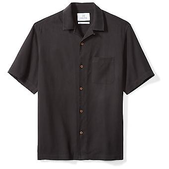 28 Palms Men's Relaxed-Fit 100% Silk Camp Shirt, Black, XX-Large