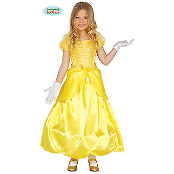 Generique enchanting Princess costume for girl yellow long dress fairy tale Carnival