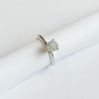 Snipe Ring Silver avec Natural Rough Diamond 2 ct. Strl. 16 mm.