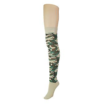 Kvinder & apos;s Army Camouflage Over Knæet Højt kostume Sokker 4-6 UK