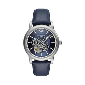 Armani Watches Ar60011 Meccanico Blue & Silver Leather Automatic Men's Watch