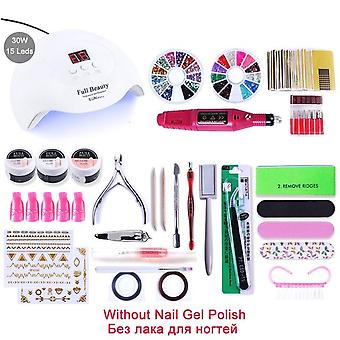 Uv Led Lamp Dryer With Electric Drill Machine ,cat Eye Gel Varnish Nail Gems