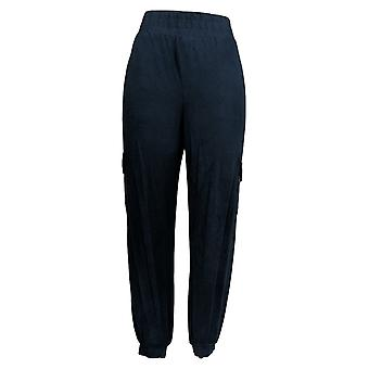 Anybody Women's Regular Pants Knit Cargo Jogger W/ Pockets Blue A310051