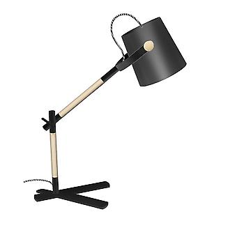 Bordopgavelampe med sort skygge 1 lys E27, Mat sort, bøg med sort skygge
