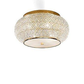 Ideal Lux Pasha' - 6 Light Ceiling Flush Light Gold mit Kristallen, E14