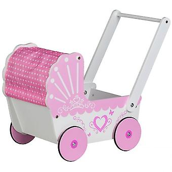 Wooden doll car pink suitable for Barbies with own canopy roof