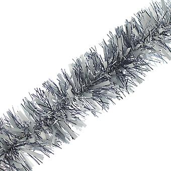 2m x 10cm Silver Pewter Chunky Cut Tinsel Christmas Tree Decoration