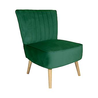Charles Bentley samt Luxus Cocktail Gelegenheit Scalloped Accent Lounge/Schlafzimmer/Dressing Room Stuhl mit Massivholz Beine grün