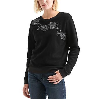 ラッキーブランド|リバースフリース フローラル装飾スウェットシャツ