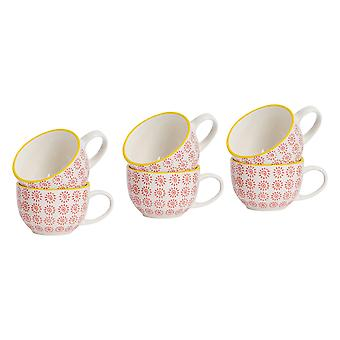Nicola Spring Patterned Vintage Style Tea Cups, Cappuccino, Coffee - Red Sun Swirl Design, 250ml - Set of 6