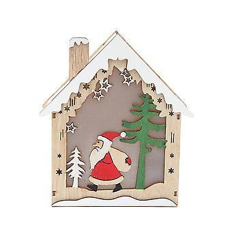 Enfeite de Natal da Casa de Neve de Inverno com Luz para Decoração de Festa de Natal