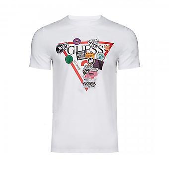 推測 オーバーレイ ロゴ クルー ネック ホワイト T シャツ M0BI70I3Z00