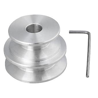 Silver Aluminum Dual 2-Step Pulley 40x30x10MM for Motor Shalf Drive Belt