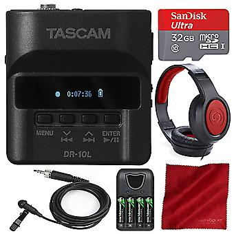 Tascam dr-10l digital audio recorder and lavalier mic with 32gb sd card, samson headphones, and deluxe bundle