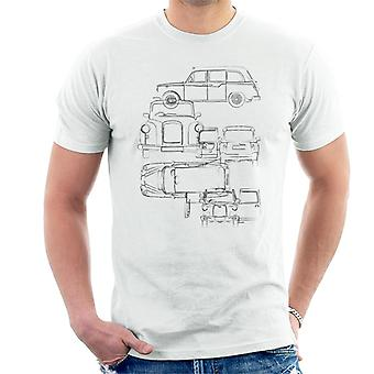London Taxi Company Light Blueprint Män's T-Shirt