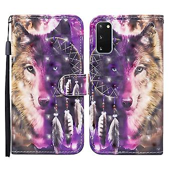 For Samsung Galaxy S20 Colored Drawing Pattern Horizontal Flip Leather Case with Holder & Card Slots & Wallet(Wind Chime Wolf)