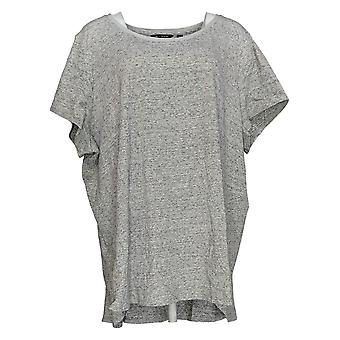 H by Halston Women's Plus Top Donegal Knit Scoop-Neck Top Gray A308597