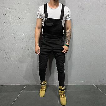 Men's Denim Dungaree Bib, Overalls Jumpsuits, Moto Biker Jeans Pants, Trousers