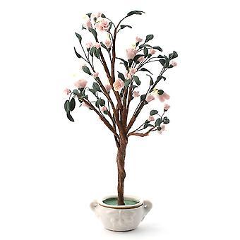 Dolls House Standard Różowy Kwiat Wiśni Drzewo W Pot Miniatura Garden Akcesoria