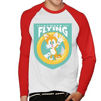 Sonic The Hedgehog Tails vilkuttaa aina Lentävät Miehet&Apos;s Baseball Pitkähihainen T-paita