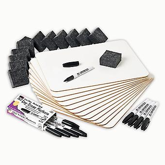 Dry Erase Classpack, Plain/Lined 2-Sided Boards, Markers & Erasers, Pack Of 12