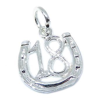 18 Podkowa Sterling Srebrny Urok .925 X 1 Lucky Eighteen Charms - 7533