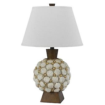Lámpara de mesa de poliresina de 150 vatios con adorno de concha marina, de color blanco y marrón