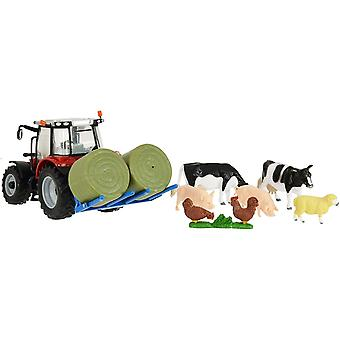Britains 1:32 Massey Ferguson 5612 Tractor Toy Farm Set, Collectable Farm Playset for Children