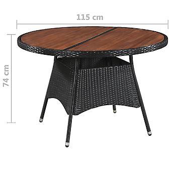 Tavolo da giardino 115x74 cm poli rattan e legno massello di acacia