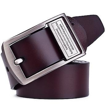 Miesten tappi solki nahkavyö puhdas nahka housut vyö, vyön pituus: 115cm (ruskea)