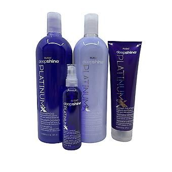 Rusk Deep Shine Shampoo & Conditioner 33.8 Repair Treatment 8.5 Shine Spray 4 OZ