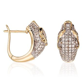 Yellow Gold Earrings - My Panthers; Diamonds 1.03 carat and Blue Sapphire 0.07 carat