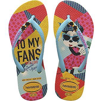 Havaianas Girls Kids Disney Cool Summer Beach Sandalias Flip Flops - Oro