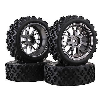 4x RC1:10 Auf der Straße Auto Y Form Legierung Felge Titan Farbe + Kreuz Gummi Reifen
