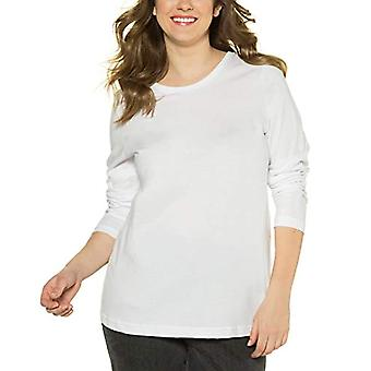 ULLA POPKEN Basic-Shirt, Rundhalsausschnitt, Slim, Baumwolle Long Sleeve T-shirt, White (20), 46 Women's