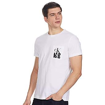Calvin Klein Mirrored Monogram Pkt Slim Tee Shirt, Bright White/Black, XXL Men's