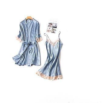 Кружевная ночная рубашка, Шелковая одежда Bathrobe Элегантный Pijama Robe Наборы