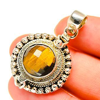 "Tiger Eye Poison Pendant 1 1/2"" (925 Sterling Silver)  - Handmade Boho Vintage Jewelry PD760431"