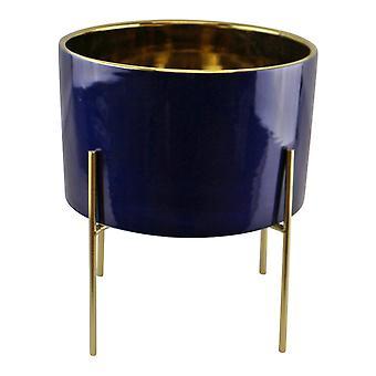 עציץ זהב קרמי גדול בצבע כחול כהה עם מעמד