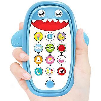 Baby muzikale speelgoed, baby shark telefoon speelgoed met licht en geluid (blauw)