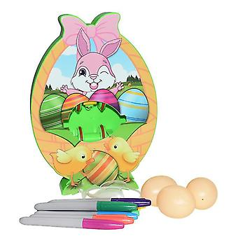 Easter Egg Coloring Kits With 3 Eggs 8 Markers Egg Dye Kit Spinner Machine(With Light)