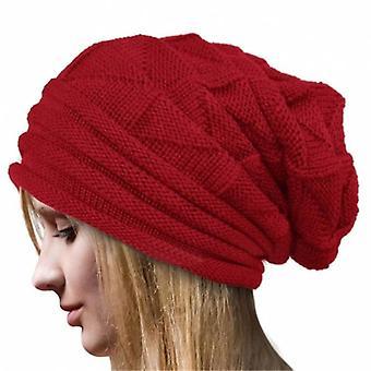 Cappello a maglia invernale, uomo e Berretto teschio fodera in pile berretto berretto femminile (rosso)