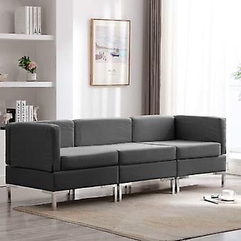 vidaXL 3 pcs. Sofa set fabric dark grey