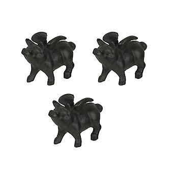 Uppsättning av 3 gjutjärn flygande grisfigurer hem dekor pappersvikt konstskulpturer
