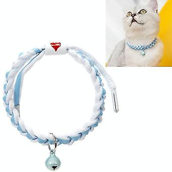 4 PCS Adjustable Pet Bell Color Cotton Woven Cat and Dog Universal Collar, Colour: Braided Blue