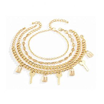 A013 Jewelry Female Fashion Lock Buckle Key Anklet Retro Punk Style Multi-element Suit Foot Ornament