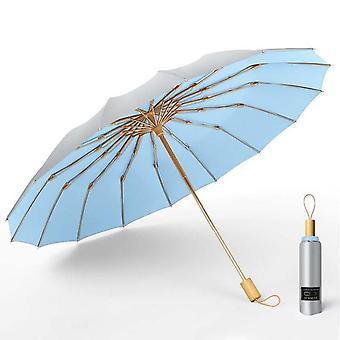 Strong wind resistant 3folding 16k manual umbrella men parasol women rain large umbrellas super sun protection and uv
